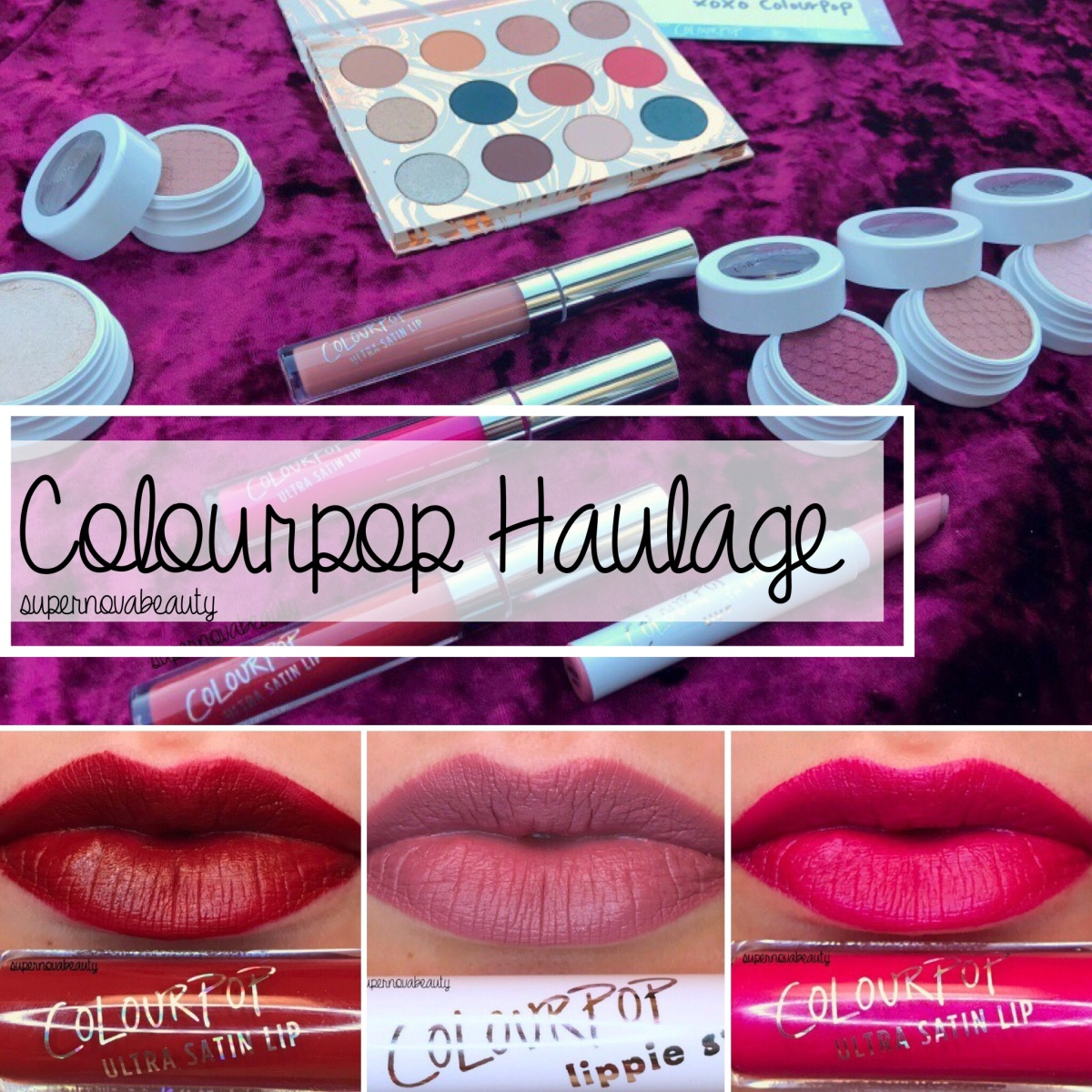 Haulage + Swatches | Colourpop Shadows + Lippies