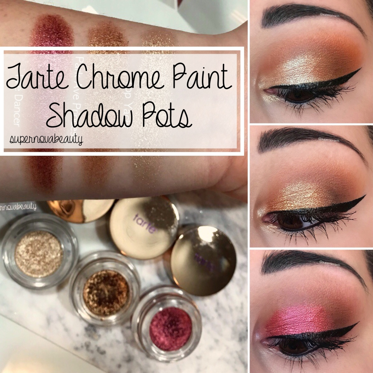 Tarte Chrome Paint Shadow Pots | Review, Swatches + Looks!