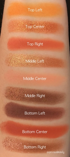 Huda Beauty Topaz Swatches Labelled