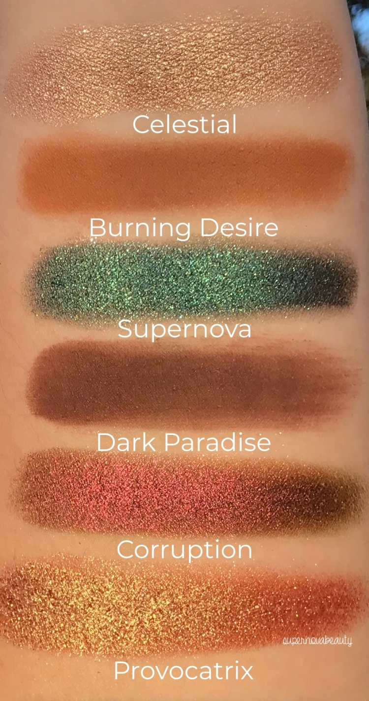 swatches in sun labelled