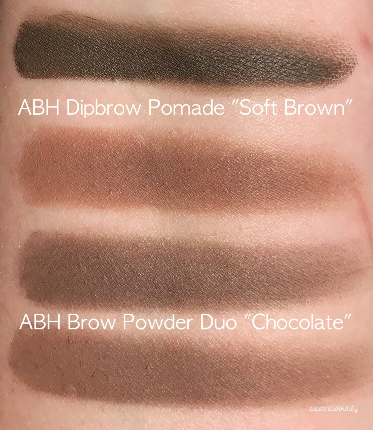 brow product swatches