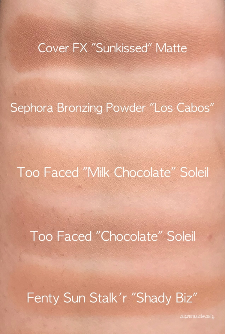 matte bronzer swatches